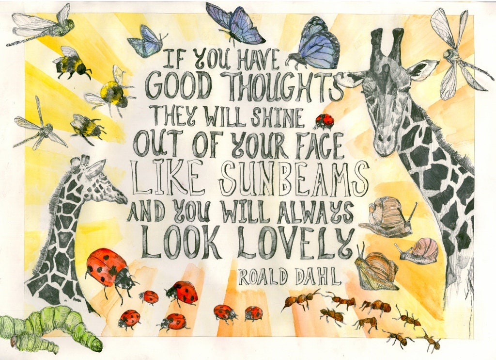 Giraffe Poster 'You Look Lovely' Roald Dahl Quote.