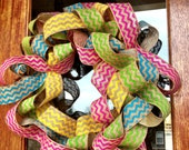 Custom Burlap Chevron Colorful Easter/Spring/Summer FUN Wreath  - Frontdoorshowcase