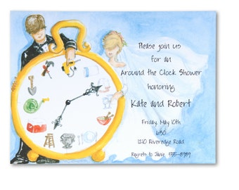 Custom Printed Around the Clock invitation - NO MINIMUMS