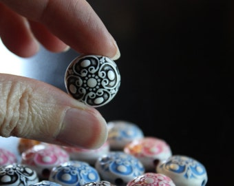 15 pieces antique acrylic beads, mixed colors, lentil, 17mm in diameter, 12mm thick, 2mm hole