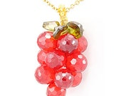 Orange Crystal Necklace, 14K Yellow Gold Ladies Necklaces, Ladies Fine Jewelry