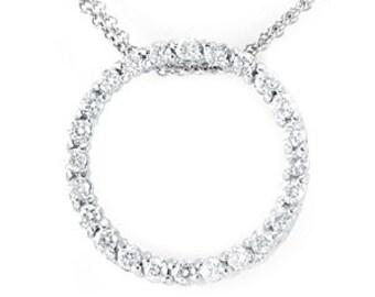 Cicle Diamond Pendant, 14K White Gold Eternity Pendant, Ladies Fine Jewelry