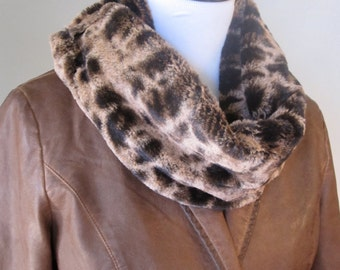 Coppery Brown Faux Fur Fur Infinity Scarf - Free Shipping