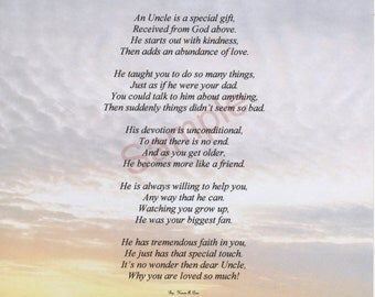 """Five Stanza """"What Is An Uncle"""" Poem shown on """"Horizon"""" Background"""