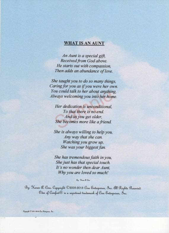 Five Stanza What Is An Aunt Poem Shown On