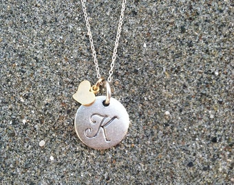 Monogram Necklace, Heart Necklace, Matte Silver and Gold, Initial Necklace, Heart Initial Necklace