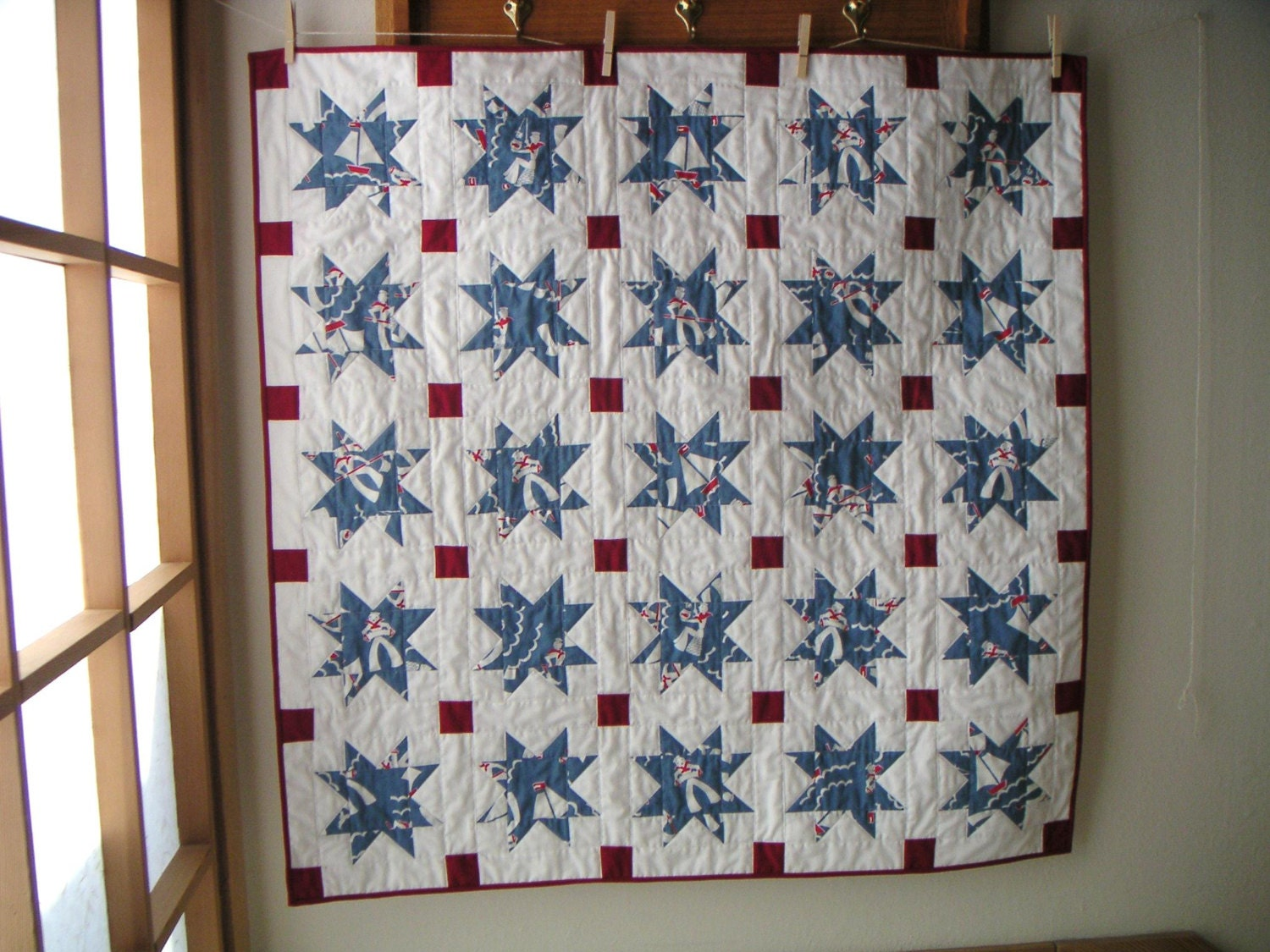 Nautical crib quilt baby red white and blue by for Nautical nursery fabric