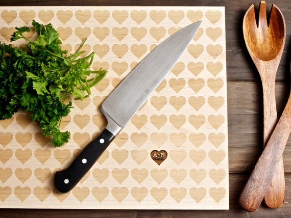 Personalized Carved Heart Engraved Wood Cutting Board - 12x16 - Mother's Day - custom wedding or anniversary gift for foodie couple