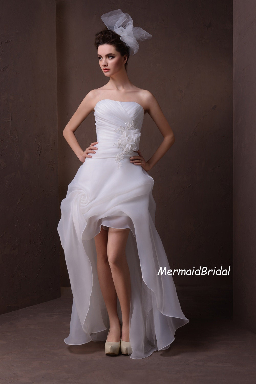 Items similar to ivory high low wedding gowns short for Wedding dress high low