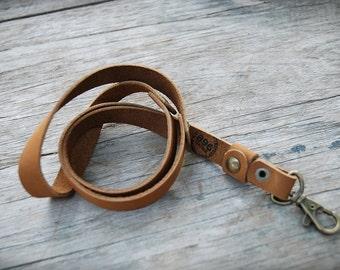Handmade leather lanyard, Leather keychain, leather key strap, Leather Neck Strap , Neck Lanyard unisex style