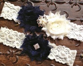 Navy Blue Wedding Garter, Something Blue Wedding Garter, Navy Blue Ivory Garter Set, Navy Blue Bridal Garter, Ivory Lace Wedding Garter