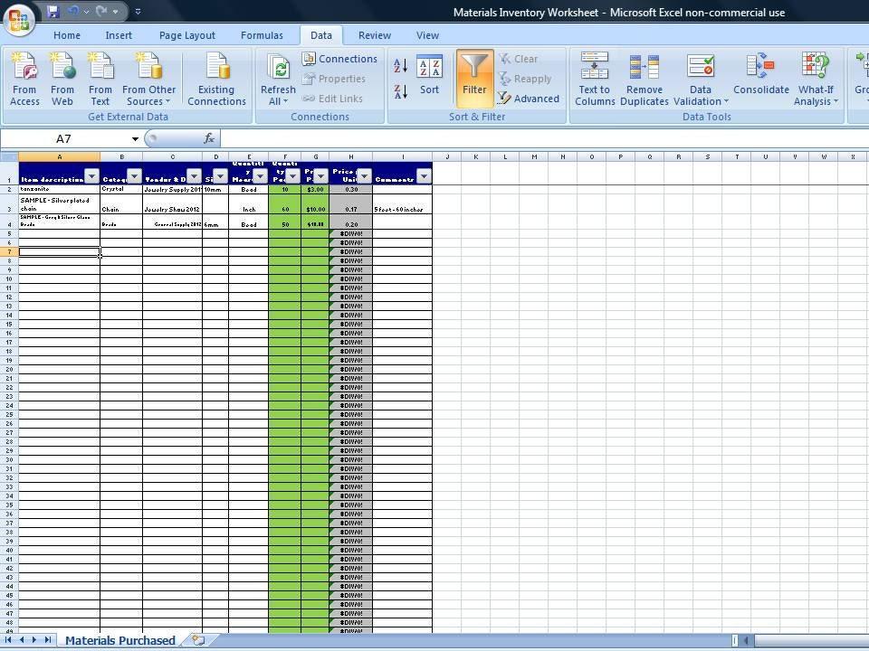 simple inventory worksheet vendor price by timesavingtemplates