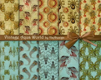 """Nautical digital paper: """"VINTAGE AQUA WORLD"""" digital nautical papers on blue and brown vintage background with octopus, shell, jellyfish"""