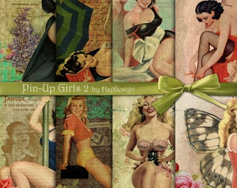 Pin-Up Girls 2 - Instant Download, Digital Paper, Scrapbook Paper, Decoupage Paper, Digital Collage Sheet, Retro Paper, Pin Up Collage