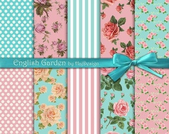 "Shabby chic digital paper : ""ENGLISH GARDEN"" roses digital paper, pink and blue shabby chic paper, pink roses, stripes and polka dot paper"