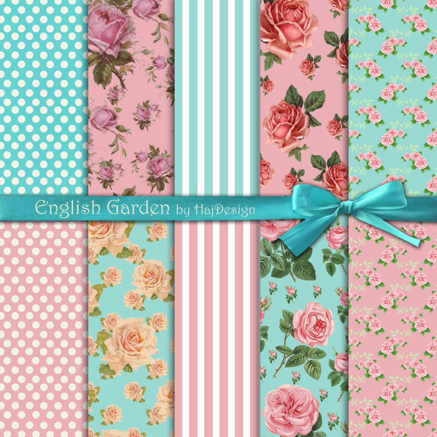 Shabby chic digital paper ENGLISH GARDEN roses