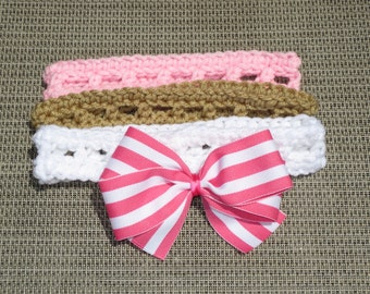 Set of 3 INFANT Crochet Addison Headbands with removable bow, Girl, Baby, Ready to Ship