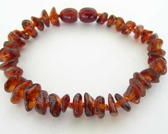 Baltic Amber - Teething Bracelet for Baby - Cognac Color