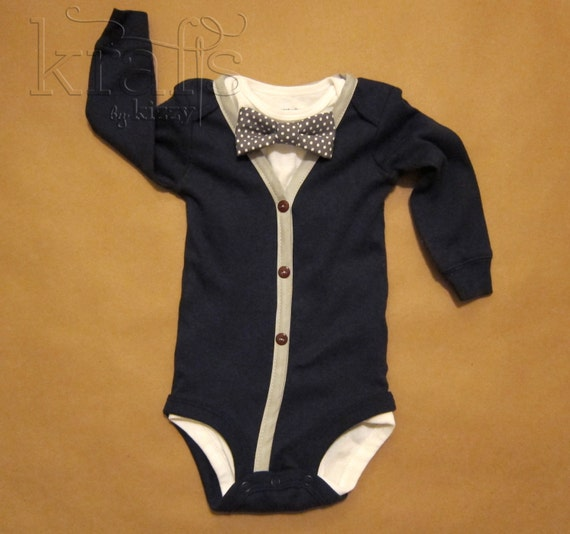 Baby Boy Outfit - Blue/Gray Cardigan & onesie with removable Dark Gray Polka Dot Bow Tie