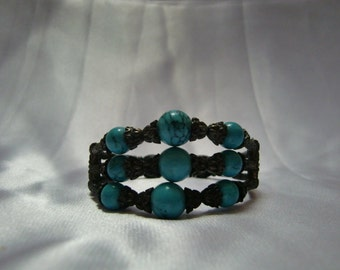 Vintage Metal With Turquoise Beads Bracelet