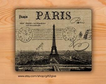 Mouse pad Paris France City burlap background Mousepad