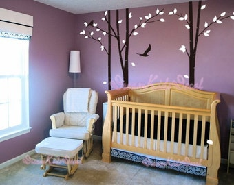 tree decal nursery wall decal baby wall decal children wall decal flying birds decal room decal-Tree with Flying Birds-DK003