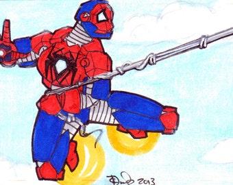 ACEO Original   Iron Spider Mash-up Artist Sketch Card in Copics