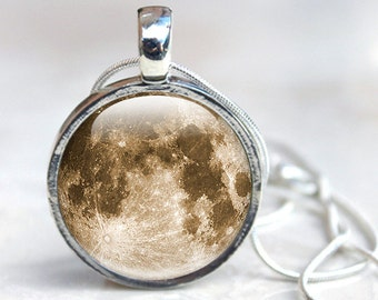 Space Jewelry Moon Necklace Glass Pendant Necklace, Space Picture Pendant Picture Necklace Photo Pendant Full Moon Jewelry moon pendant