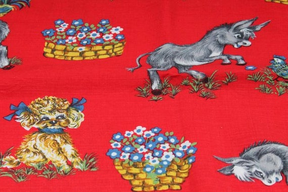 Vintage childrens fabric 1960s by mrslongstocking on etsy for Vintage childrens fabric