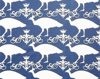Navy Peacock Fabric By The Yard Premier Prints Upholstery Home Decor Fabric Crown Blue White Cotton