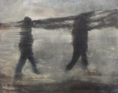 walk, beach, blurred, acrylic, - BeaNBirds