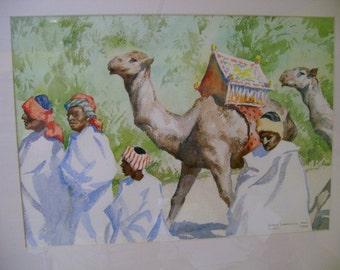 John Lavalle 1960 Watercolor Art Painting Road to Suez