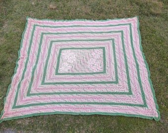 40s Crochet Bedspread . Antique Coverlet . Hand Made Blanket . Pink and Green