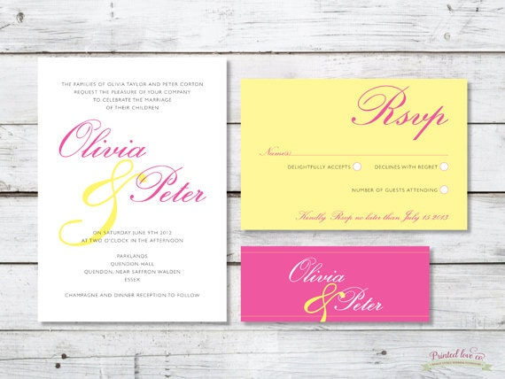 Printable Wedding Invitation Set - Vintage Style - Olivia in Pink and Yellow