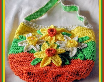 "Crocheted Tote - ""Happy Spring"""