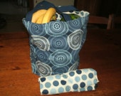 Reversible fabric market bag.