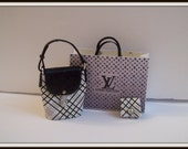 Bag dollhouse miniature 1:12 scale. (3Pcs) - LV