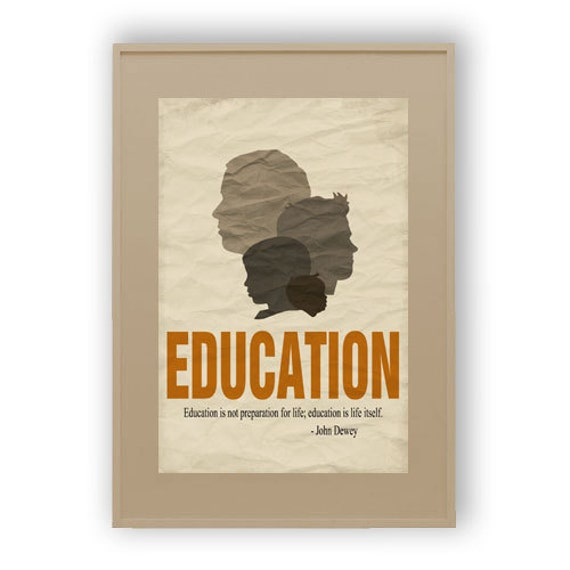 Items similar to Decorative Education Quote Poster - Male ...