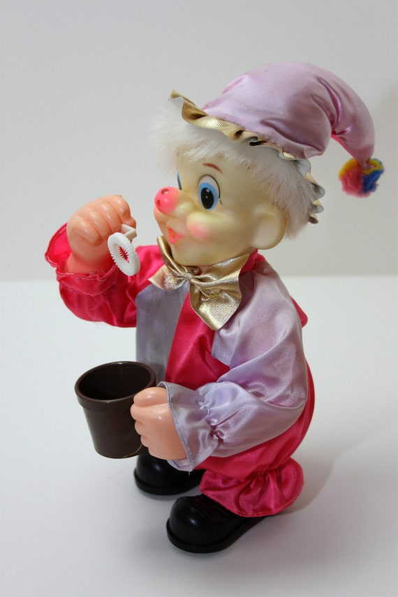 Vintage Clown Toy Blowing Bubbles-Everything works
