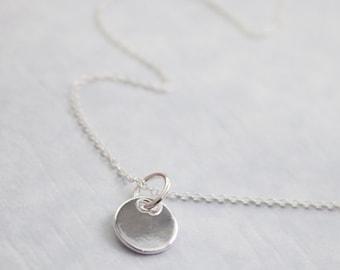 Tiny Silver Disc Pendant Necklace, Tiny Sterling Silver Disc Pendant on Fine Sterling Silver Necklace Chain, Sterling Silver Extender