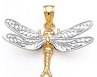 14k gold Two Tone White and Yellow Gold Dragonfly Pendant