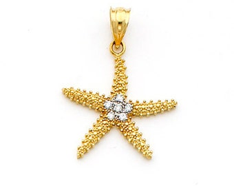 14k gold Two-tone Beaded Starfish Pendant set with .06 carats of Diamonds.