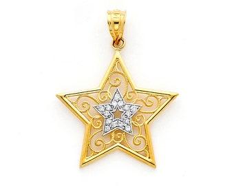 14k Gold Two tone Filigree Star Charm w/ .08ct.dia.