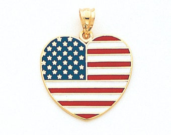 "14k Gold Yellow ""Stars and Stripe"" Heart Pendant"