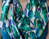 Green Blue Tulips Floral Silk Chiffon Infinity Scarf