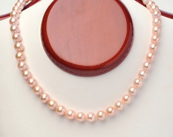 7mm Pink or White Freshwater Pearl Necklace