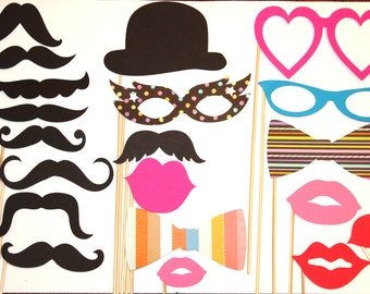 25 PhotoBooth Props - Lips and Mustaches Props -  Wedding Props - Photo Props