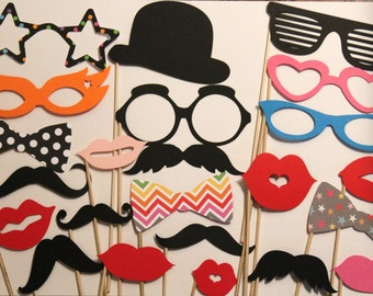 80 assorted Mustache Party, Lips, Wedding Photo Booth, Props on a Stick Circus Carnival - F