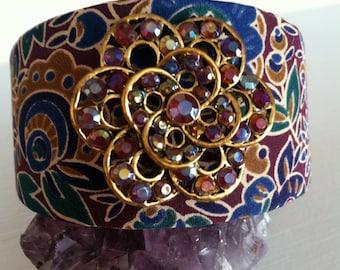 Jeweled toned cuff bracelet