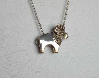 Large Ram Sterling Silver Pendant
